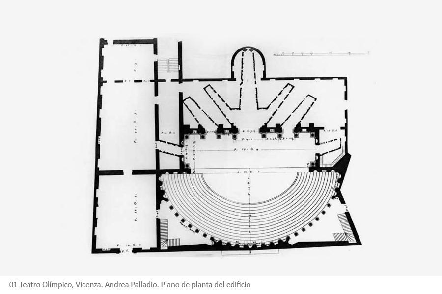 Teatro Olímpico, Vicenza. Andrea Palladio. Plano de planta del edificio