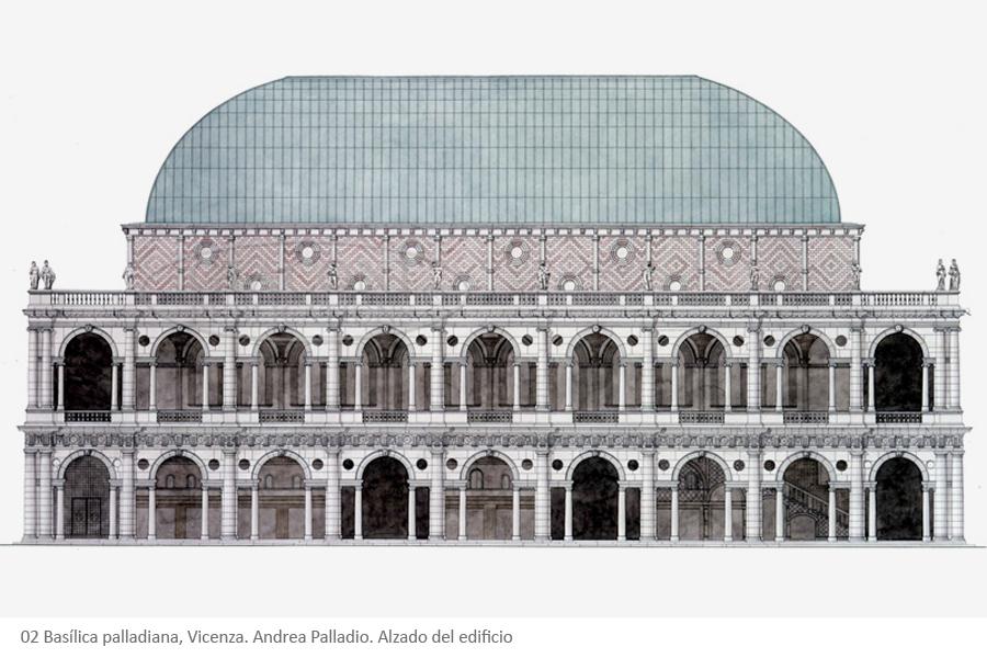 02 Basílica palladiana, Vicenza. Andrea Palladio. Alzado del edificio