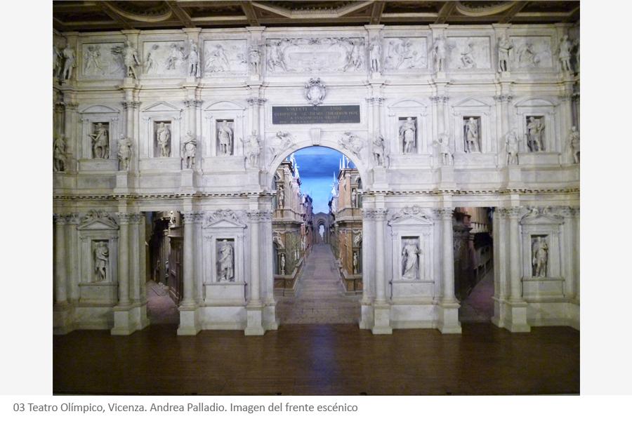 Teatro Olímpico, Vicenza. Andrea Palladio. Imagen del frente escénico