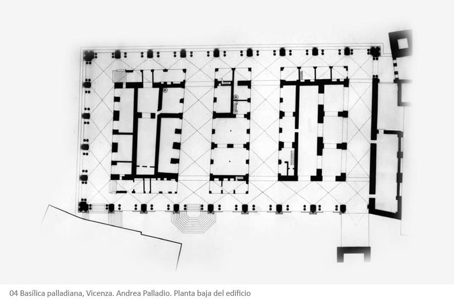 04 Basílica palladiana, Vicenza. Andrea Palladio. Planta baja del edificio