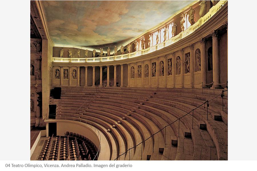 Teatro Olímpico, Vicenza. Andrea Palladio. Imagen del graderio